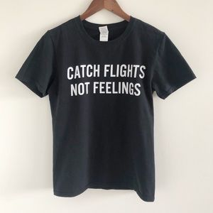 Gildan 100% Cotton Catch Flights Not Feelings Tee